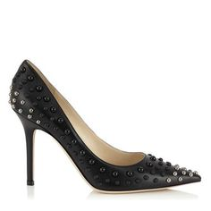 Jimmy Choo Black Nappa Pointy Toe Pumps with Silver Dome Studs