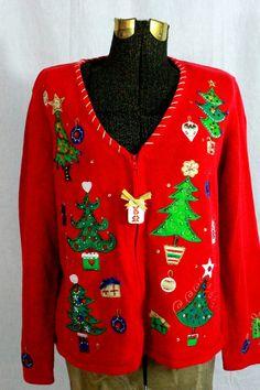 vintage christmas sweater ugly christmas sweater tacky christmas size large tiara collection - Christmas Jacket