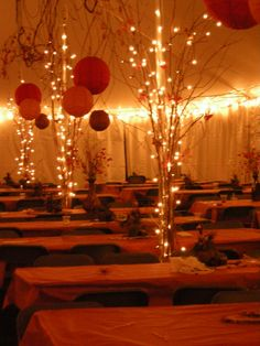 Wedding Tent decorations (like the lights on the poles) Affordable and neat way to cover poles
