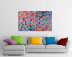 HOLIDAY SALE Original XLarge Abstract Painting Fine Art Two Canvas Modern Contemporary Diptych 24 x 60 Huge Teal.