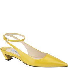 #Prada, yellow sling back kitten heel pump, from Spring Summer 2014. www.wunderl.com