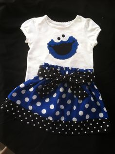 Sesame Street's Cookie Monster Skirt and shirt set (shirt available in short sleeve only) by Valentinasplace on Etsy https://www.etsy.com/listing/107757008/sesame-streets-cookie-monster-skirt-and