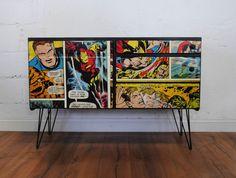 Upcycled Vintage Retro McIntosh Tv Sideboard Drawers Marvel Comic Super Hero