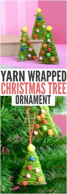 Yarn Wrapped Christmas Tree Ornaments, DIY and Crafts, DIY Yarn Wrapped Christmas Tree Ornament. Pretty Christmas Ornaments for Kids to Make! Diy Christmas Ornaments, Christmas Wrapping, Homemade Christmas, Holiday Crafts, Christmas Holidays, Diy Yarn Ornaments, Christmas Tree Decorations For Kids, Christmas Gifts For Children To Make, Diy Ornaments For Kids
