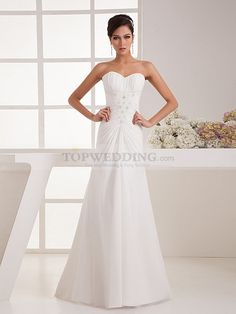 Pandoura - Structurely Draped Strapless Chiffon Wedding Dress with Beaded Applique