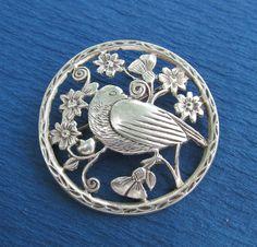 Antique Sterling Silver Bird Brooch