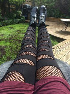 DIY Fishnet tights, underneath ripped black leggings Punk / rocker / emo / grunge / Goth By Yogo Mogo on Pinterest