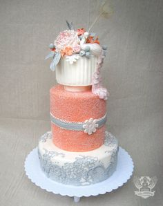 Coral, grey and white tiered floating wedding cake, lace + peonies, Artisan Cake Company Coral Wedding Cakes, Peacock Wedding Cake, Coral Cake, Cake Wedding, Wedding Cupcakes, Coral Pink, Gorgeous Cakes, Pretty Cakes, Amazing Wedding Cakes