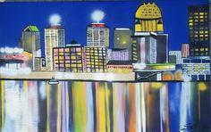 Louisville skyline in spray paint