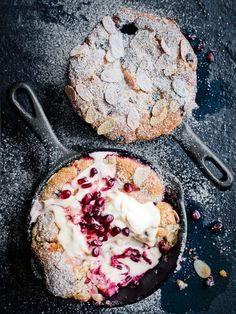 Rhubarb, pomegranate and vanilla cobblers