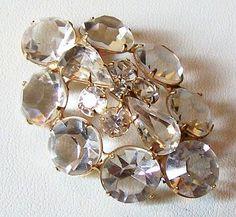 "$25 Vintage Swarovski Brooch Pin Clear Crystal Rhinestones Gold Metal Trim High End 2"" VG"