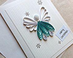 papel hecho a mano quilled tarjeta de Navidad – angel feliz Navidad