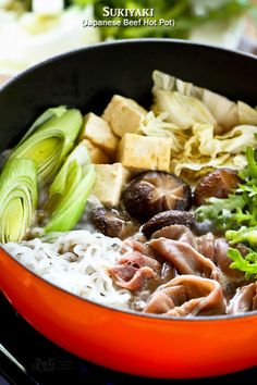 Enjoy Sukiyaki, a popular Japanese Beef Hot Pot often cooked and served at the table, in the comfort of your own home. Especially satisfying on cooler days.