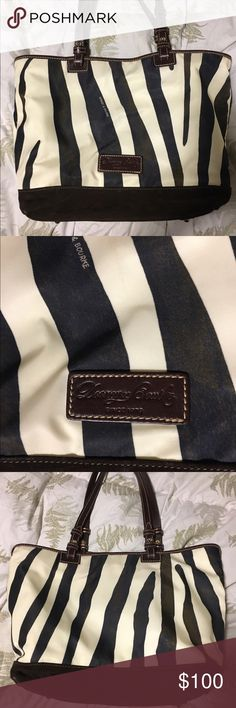 Dooney and Bourke Brown Zebra Stripe Purse NWOT. Mint condition.  Used two days. All of my Dooney purses are registered with Dooney.  No signs of wear on bottom or straps.  Nylon tote, brown suede bottom and leather straps.  Multi compartment. Magnet snap closure.  It's a winter white more than cream.  100% AUTHENTIC. Dooney & Bourke Bags Satchels
