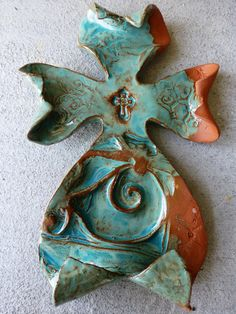 Turquoise Scroll Curled Cross #crosses #handmadecrosses #pottery