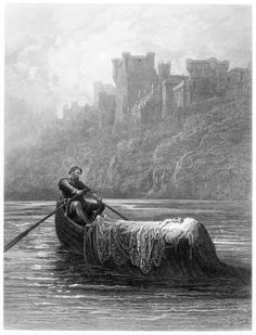 The Body of Elaine on its way to King Arthur's Palace, illustration from 'Idylls of the King' by Alfred Tennyson Artist: Gustave Dore