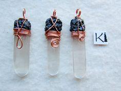 Black Tourmaline Selenite Copper Wire Wrapped Pendant Perfect Balance