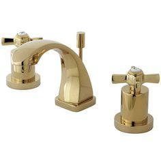 Kingston Brass KS494.ZX Millennium Widespread Double Handle Bathroom Faucet - Fr Polished Brass Faucet Lavatory Double Handle