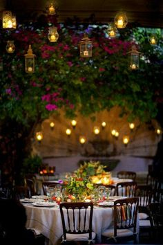 After dark - elegant dining outdoors.