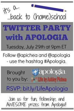 RSVP for the #Apologia Back to (Home)School Twitter Party on 7/29 at 9pm ET!!