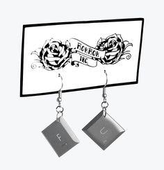 Handmade upcycled laptop keypad earrings. RokRokInc. recycling DIY jewelry. FU