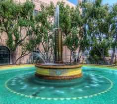 Pasadena Power Plant Fountain    Fountain at the Pasadena Glenarm Power Plant. Designed by Harold H. Lewis in 1938.
