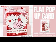 Flat Pop Up Card with Chic n Scratch, Stampin' Up! Demonstrator Angie Juda My crafty project for you today is a really easy Fun Fold Card.  It's a Flat Valentine Treats, Love Valentines, Valentine Cards, Fancy Fold Cards, Folded Cards, Stampin Up Paper Pumpkin, Card Tutorials, Video Tutorials, Wink Of Stella