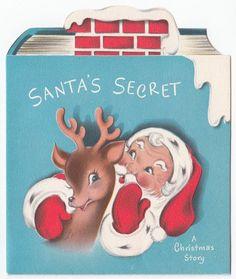 Vintage Greeting Card Christmas Die-Cut Book Story Santa Claus Reindeer Norcross