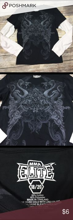 💙size 18/20 MMA Elite dragon shirt Awesome dragon design.  Never washed or worn, has a small dirt/dust mark on cuff from brushing up against something in storage.   🌀buy 2 or more items in a bundle, get 25% off automatically‼️ MMA Elite Shirts & Tops