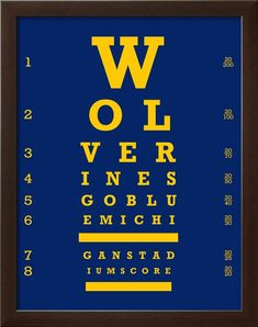University of Michigan Wolverines Football Eye Chart Art Print (8x10)