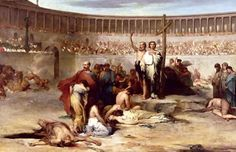 Feast day of the Scillitan Martyrs | Early Christian martyrs waiting their death at the Colosseo