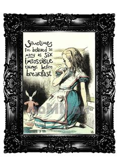 Alice in Wonderland and White Rabbit Quote Art Print by nommon, $10.00
