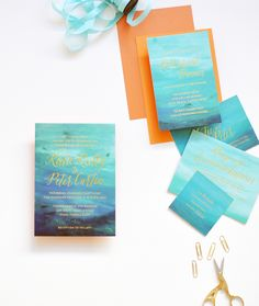 Oh So Beautiful Paper: Watercolor and Gold Foil Ocean-Inspired Wedding Invitations