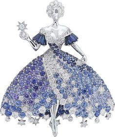 Van Cleef & Arpels Peau d'Âne collection white gold Moon Dress brooch with diamonds, blue spinels, blue and purple tanzanites, and blue...