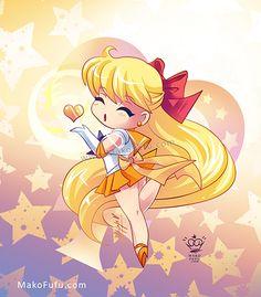 .:Chibi Super Sailor Venus:. by Mako-Fufu http://www.redbubble.com/people/makofufu/works/11319249-chibi-super-sailor-venus