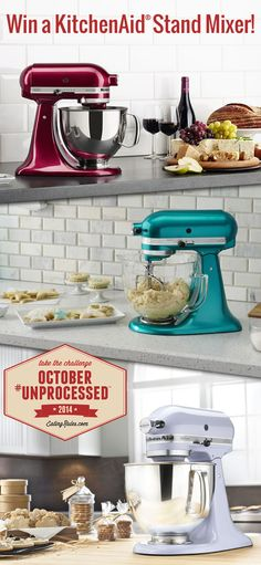 One lucky October #Unprocessed challenger is about to win a KitchenAid Artisan Stand Mixer in one of their gorgeous new colors, and the new ExactSlice Food Processor attachment to go with it!