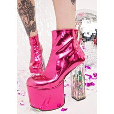 Current Mood Party Pack Platforms ($72) ❤ liked on Polyvore featuring shoes, metallic platform shoes, pink metallic shoes, current mood, going out shoes and pink shoes