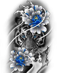 Tiger Head Tattoo, Big Cat Tattoo, Lion Head Tattoos, Tiger Tattoo Design, Full Tattoo, Body Art Tattoos, Tattoo Drawings, Armband Tattoo Design, Tattoo Sleeve Designs
