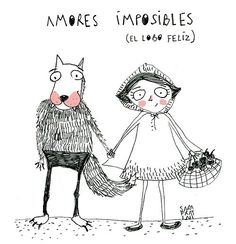 impossible love illustration, wolf & Little Red Ridding Hood