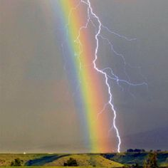 Wow, Lightning and a rainbow...spectacular!