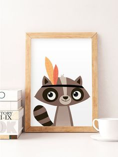 Racoon print Cute animals Animals wall art Nursery by NorseKids