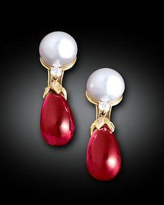 Rubellite and South Sea Pearl Earrings