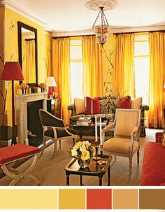 New living room on pinterest french country living room for Red and yellow living room ideas