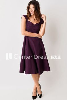 Bridesmaid dress lace cap sleeves