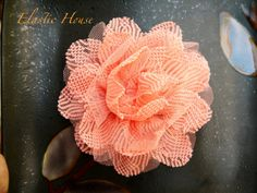 Large 4 Lace Mesh Flower  Peach Color  DIY by BloomzberrySupplies