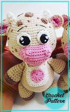 Crochet Dolls Free Patterns, Free Crochet, Crochet Ideas, Bobble Stitch, Slip Stitch, Half Double Crochet, Single Crochet, Cow Pattern, Sewing Toys