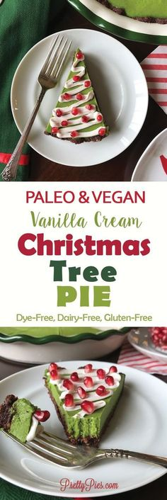 So cute! And no artificial coloring! Christmas Tree Pie - This festive and colorful pie is perfect for the holidays! A chewy no-bake brownie crust and rich vanilla cream (plus a healthy twist!) that's free from dairy, gluten/grains and refined sugar. #vegan #paleo - PrettyPies.com