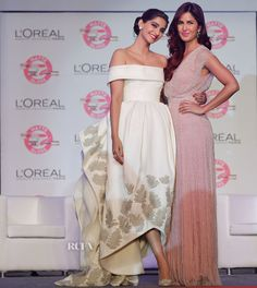 Sonam Kapoor In Ashi Studio & Katrina Kaif In Jenny Packham - L'Oreal Paris 'Matte or Gloss' Cannes Collection Launch - Red Carpet Fashion Awards Star Fashion, Indian Fashion, Bride And Prejudice, Bollywood Hairstyles, Ashi Studio, Fairytale Gown, Red Carpet Gowns, Chiffon Evening Dresses, Sonam Kapoor