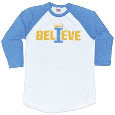 "It's a Blue October. Let's rally behind our hometown team and fight for the MLB championship with this classic ""I BELIEVE"" baseball tee. Be Royal. Go Royals."