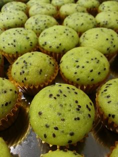 Kiwi Cupcakes  -  (from The Best Cupcake Recipes)  -  1-2 whole fresh kiwis (1/3 c. mashed kiwi)...1 1/2 c. all-purpose flour...1 t. baking powder...1/4 t. sea salt...1/4 c. milk...1 t. vanilla extract...1/2 c. (1 stick) unsalted butter, room temp...slightly over 3/4 c. granulated sugar...1 egg...2 egg whites